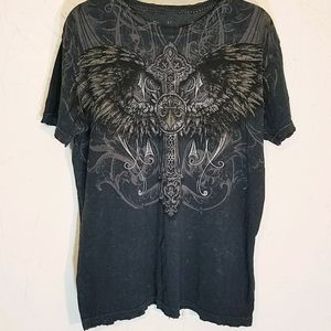 Affliction front/back wings fleur de Lis distressd